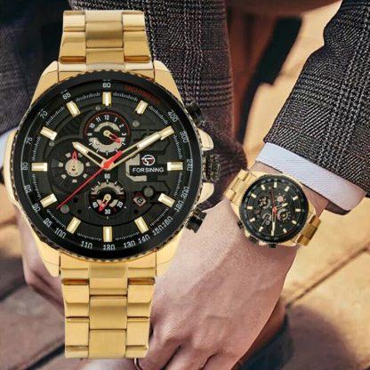 Механические часы с автоподзаводом Forsining (gold-black)
