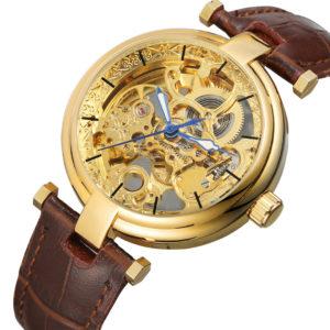 Механические часы Forsining Skeleton (brown-gold)
