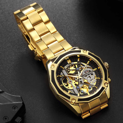 Механические часы Forsining Skeleton (gold-black)